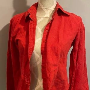 Red Button-up Blouse